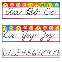Emoji Alphabet Line Standard Cursive Bulletin Board Set - T-8287 | Trend Enterprises Inc. | Alphabet Lines