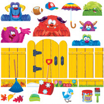 T-8314 - Furry Friends 4 Seasons Fence Bulletin Board Set in Classroom Theme