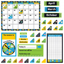T-8390 - Bold Strokes Calendar Bulletin Board Set in Classroom Theme