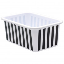 Black and White Stripes Small Plastic Storage Bin - TCR20400 | Teacher Created Resources | Storage Containers