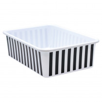Black and White Stripes Large Plastic Storage Bin - TCR20418 | Teacher Created Resources | Storage Containers