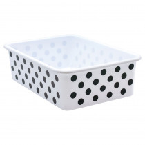 Black Polka Dots on White Large Plastic Storage Bin - TCR20419 | Teacher Created Resources | Storage Containers