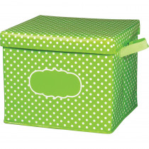 TCR20820 - Lime Polka Dots Storage Bin W/ Lid in Storage Containers