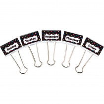 TCR20856 - Large Binder Clips Days Of The Week Chalkboard Brights in Clips