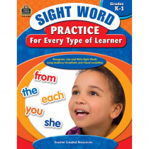 TCR3058 - Sight Word Practice For Every Type Of Learner Gr K-1 in Sight Words