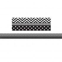 TCR5543 - Black & White Chevron And Dots Trim Straight Border in Border/trimmer