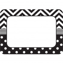 TCR5548 - B&W Chevron And Dots Name Tags in Name Tags