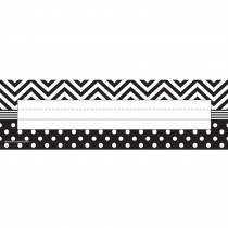 TCR5549 - B&W Chevron And Dots Name Plates in Name Plates