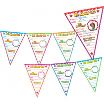 TCR5578 - All About Me Pennants Bulletin Board in Classroom Theme