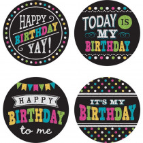 Chalkboard Brights Happy Birthday Wear 'Em Badges, Pack of 32 - TCR5601   Teacher Created Resources   Badges