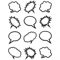 TCR5641 - Superhero Black & White Speech Thought Bubbles Mini Accents in Accents