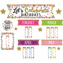 TCR5884 - Confetti Happy Birthday Mini Bulletin Board Set in Holiday/seasonal