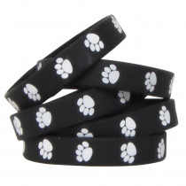 TCR6570 - Black W White Paw Prints Wristbands in Novelty