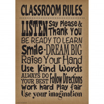 TCR7403 - Burlap Classroom Rules Poster in Inspirational