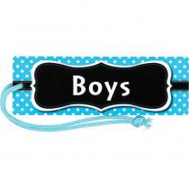 TCR77239 - Aqua Polka Dots Magnetic Boys Pass in Hall Passes