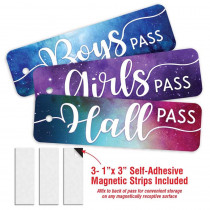 Galaxy Script Design- 3 Plastic Passes in each pack: 1-Boy, 1- Girl, 1- Hall - TOP10188 | Top Notch Teacher Products | Hall Passes