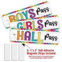 DIY Dots Design- 3 Plastic Passes in each pack: 1-Boy, 1- Girl, 1- Hall. Includes 3- Adhesive Magnetic Strips to adhere to the back of the passes to make them suitable for storage on all Magnetic Receptive Surfaces - TOP10189 | Top Notch Teacher Products