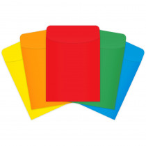 TOP4019 - Brite Pockets Peel & Stick 375/Box Primary Assorted in Library Cards
