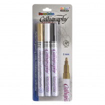 Calligraphy Paint Marker Set, Black, Gold & White - UCH1253C | Uchida Of America, Corp | Markers