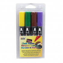 UCH4804D - Bistro Chalk Markers Brd Tip 4 Clr Set Brown Green Yellow Violet in Markers