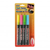 UCH4824A - Bistro Chalk Markers Fine Tip 4 Clr Set Fluorescent Pnk Blu Grn Ylw in Markers