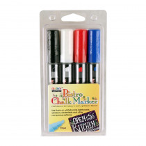 UCH4834C - Bistro Chalk Markers Chisel Tip 4 Clr Set White Black Red Blue in Markers