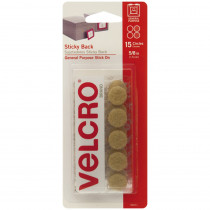 VEC90071 - Sticky Back 5/8In Circles Beige 15 Pack in Velcro