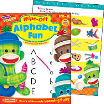 T-94118 - Alphabet Fun Sock Monkeys Wipe-Off Books in Language Arts
