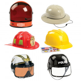 6 Piece Helmet Set Includes Astronaut, Firefighter, Armed Forces, Police, Construction & Pith Helmet