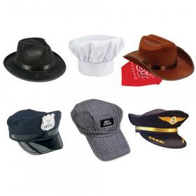 6-Piece Hat Set, Fedora, Police, Chef, Brown Cowboy, Train Engineer & Airline Pilot