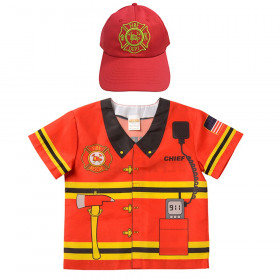My 1st Career Gear Firefighter Top & Red Firefighter Cap, One Size Fits Most, 18-36 Months