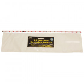 """Clear View Self-Adhesive Extra Large Name Plate Pocket 5.75"""" x 21"""", Pack of 25"""