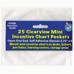 "Clear View Self-Adhesive Mini Incentive Chart Pocket 6"" x 7"", Pack of 25"