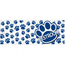 Restroom Pass Blu Paws Lrg 2 Sd Laminated Print 3.5X9
