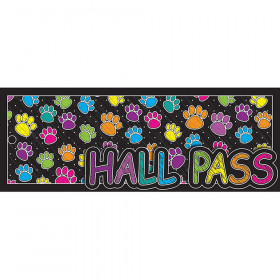 Laminated Hall Pass Colored Paws