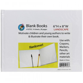 "Hardcover Blank Book, 8"" x 6"" Landscape, White"