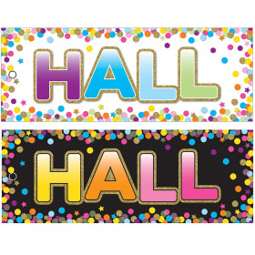 "Laminated Double-Sided Hall Passes, 9"" x 3.5"", Confetti Hall Pass"