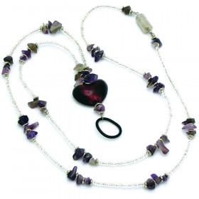 Heart Stones Identification Holder & Beaded Lanyard