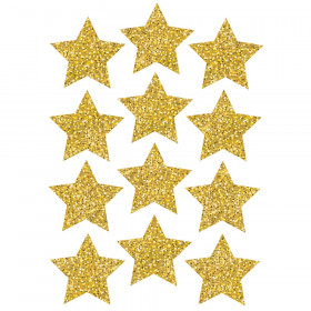 """Die-Cut Magnets, 3"""" Gold Sparkle Stars, Pack of 12"""
