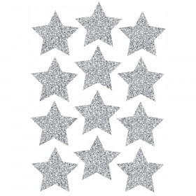 Die Cut Magnets 3In Silver Sparkle Stars