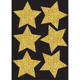 Die Cut Magnets 4In Gold Sparkle Stars