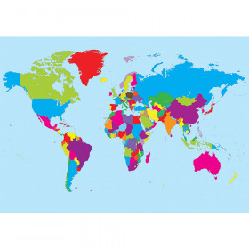 Magnetic World Map Chart Write On Wipe Off 12X17