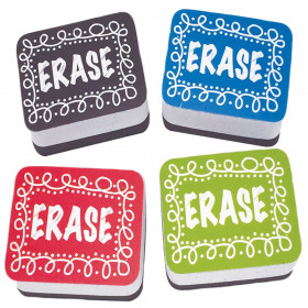 Non-Magnetic Mini Whiteboard Erasers, Chalk Loop, Pack of 10