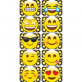 """Magnetic Mini Whiteboard Erasers 2"""" x 1.5"""" x .75, Emoji Stars, Pack of 10"""