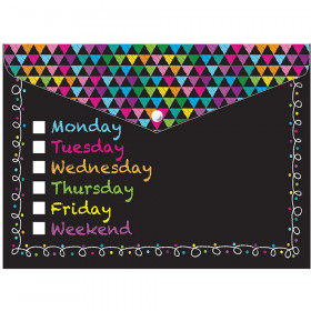 6 Pk Folder W/ Snap 95X13 Days Week Chalk Look Organizer