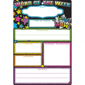 Smart Word Of The Week Chart 13X19 Dry-Erase Surface