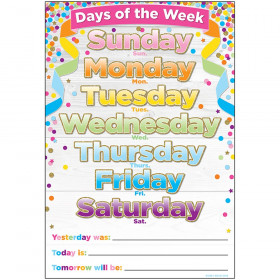 "Smart Poly Chart, 13"" x 19"", Confetti Days of the Week"
