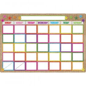 Smart Burlap Stitched Calendar Dry-Erase Surface