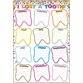 "Smart Poly Chart, 13"" x 19"", Confetti I Lost A Tooth, w/Grommet"