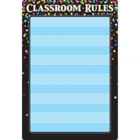 "Smart Poly Chart Black Confetti Classroom Rules, 13"" x 19"""